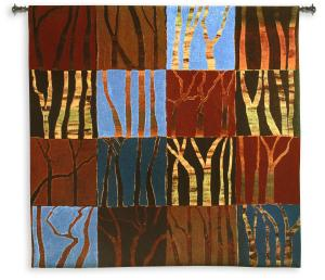 Red Trees II | Large Woven Art Tapestry | 53 x 53