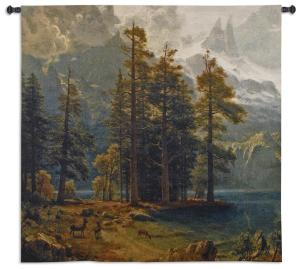 Sierra Nevada | Woven Landscape with Deer Tapestry Wall Hanging | 53 x 53