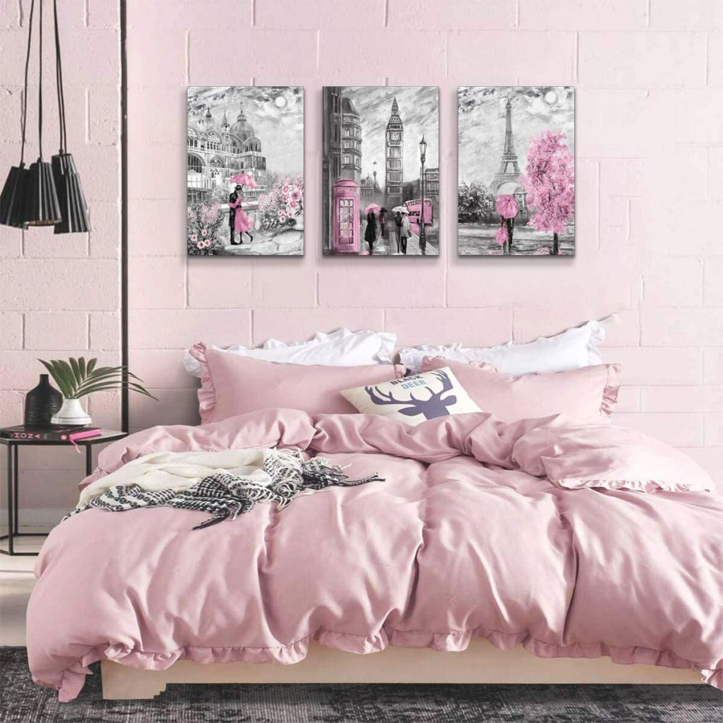 Street Scenes with Pink 3-Piece Art Set I