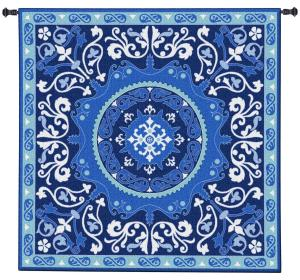 Suzani Celestial Blue White Tapestry Wall Hanging