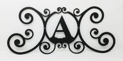 Wrought Iron Monogram Wall Plaque Letter A