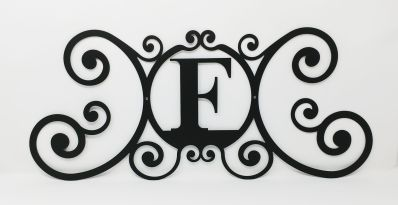 Wrought Iron Monogram Wall Plaque Letter F