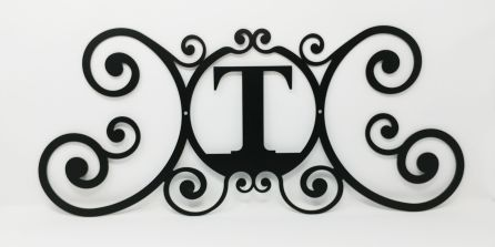 Wrought Iron Monogram Wall Plaque Letter T