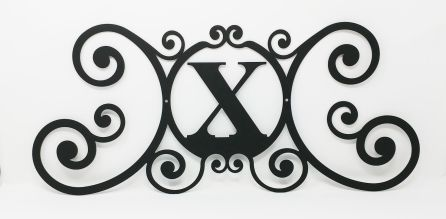 Wrought Iron Monogram Wall Plaque Letter X