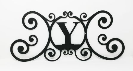 Wrought Iron Monogram Wall Plaque Letter Y