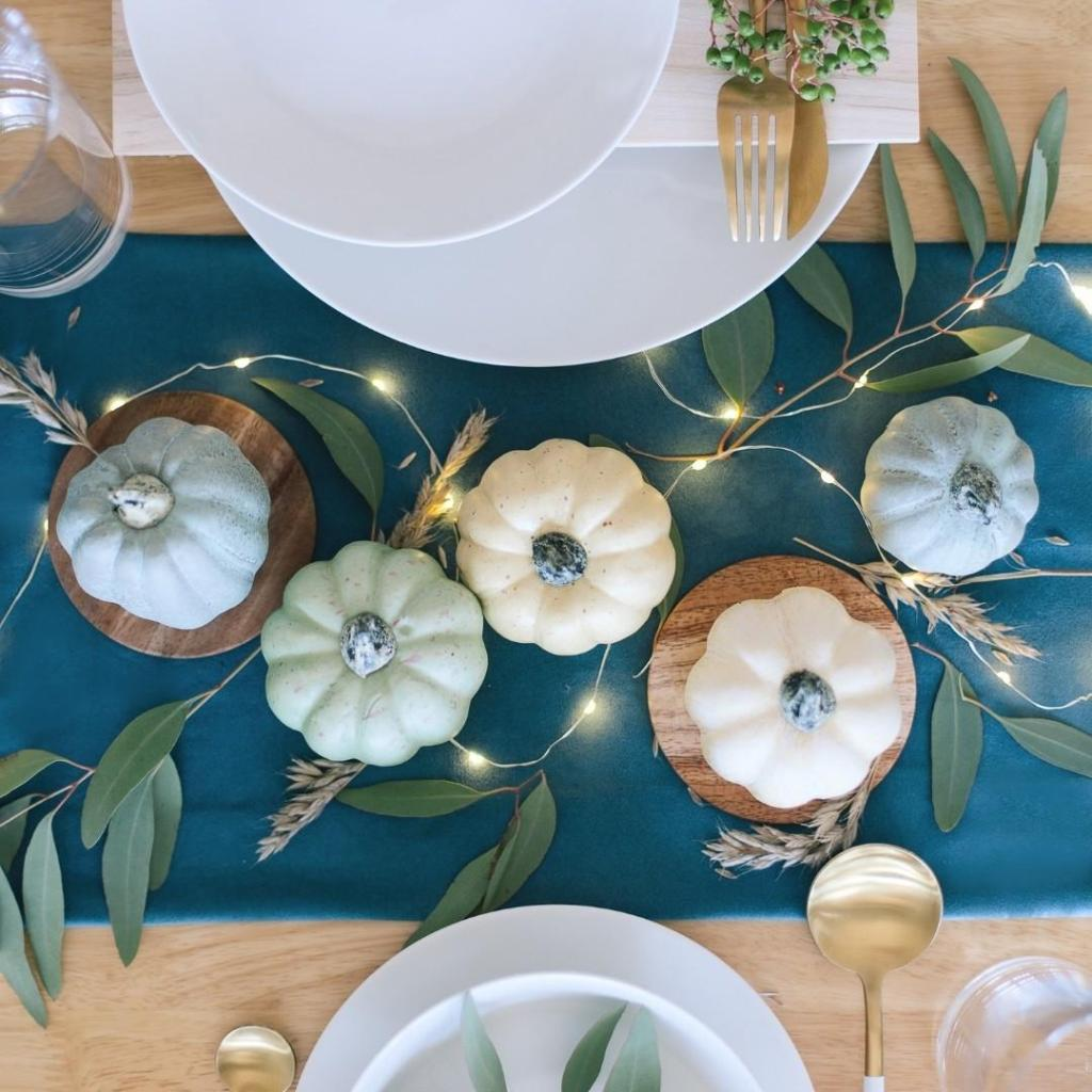Blue and White Pumpkin Table Display