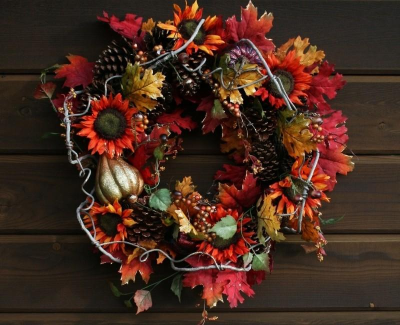Fall Flowers DIY Dollar Store Wreath