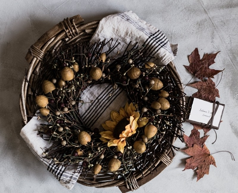 Fall Twig and Nut Wreath