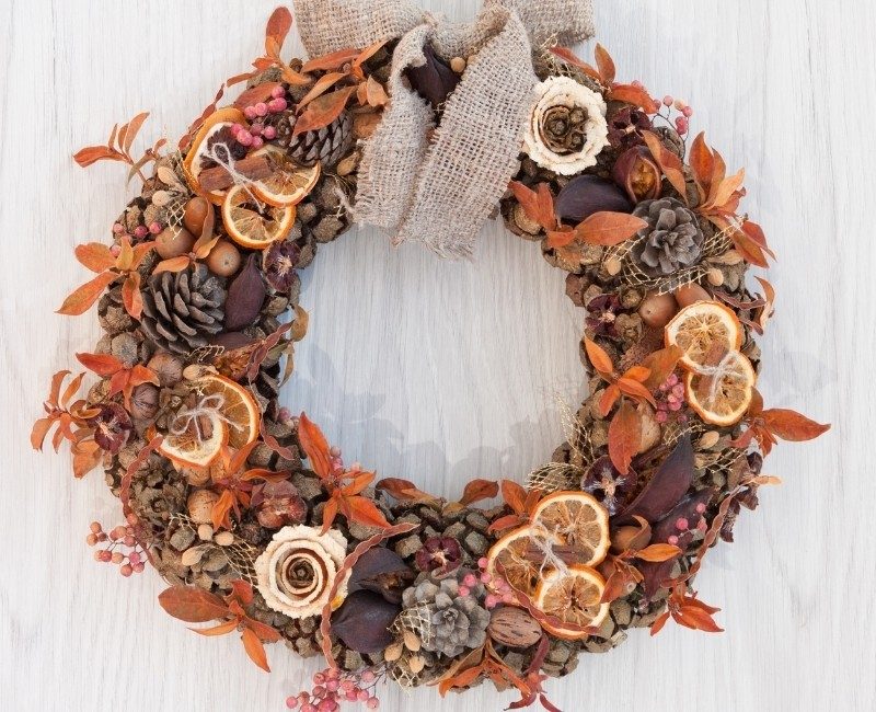 Fall Wreath with Dried Orange Slices