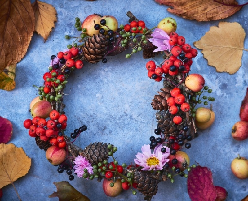 Pine Cones and Fruit Wreath