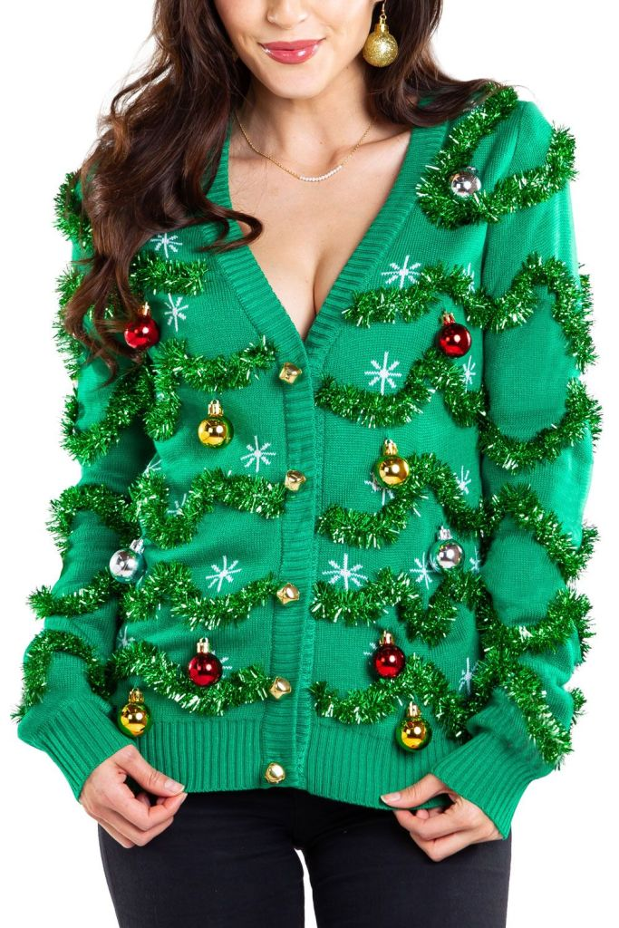 Gaudy Garland Ugly Christmas Cardigan