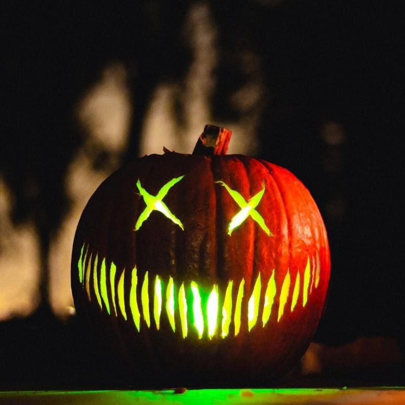 Green Goblin Carved Pumpkin