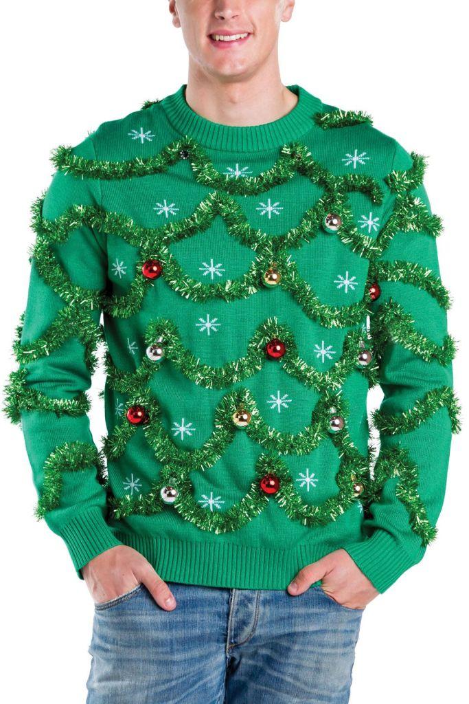 Mens Gaudy Garland Ugly Christmas Sweater