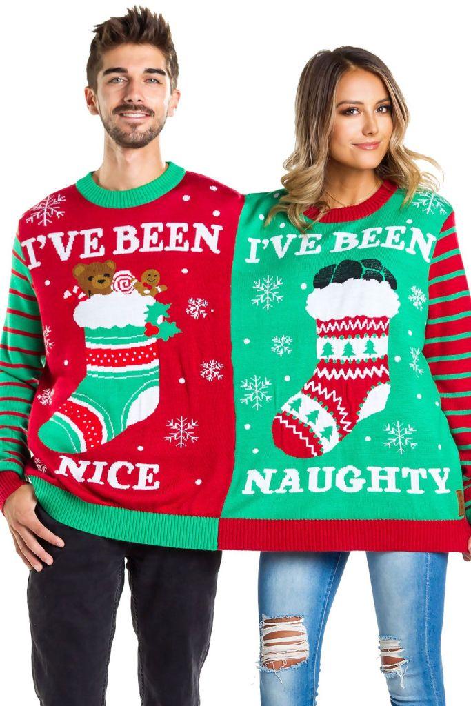 Naughty & Nice Couple's Ugly Christmas Sweater