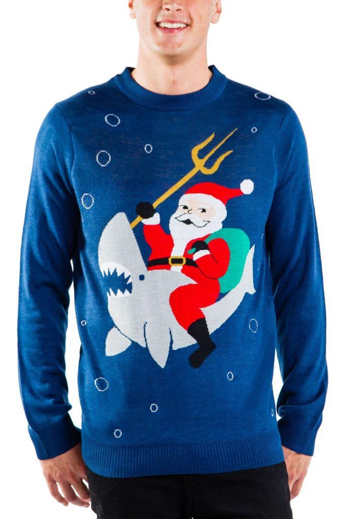 Santa Riding a Shark Christmas Sweater