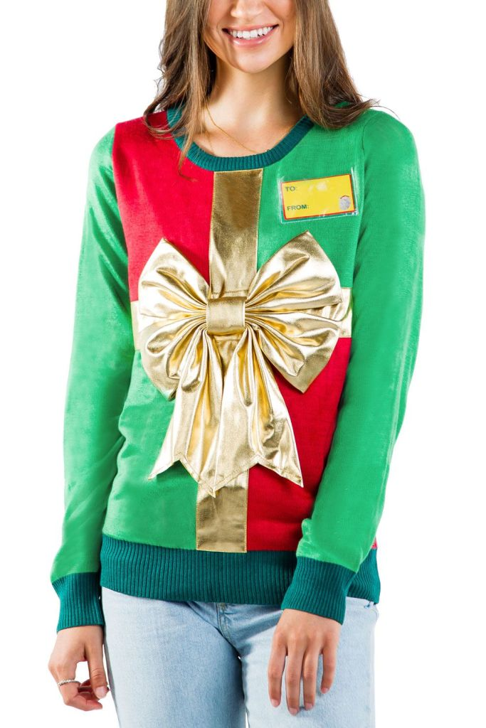 Women's Wrapped Up With a Bow Ugly Christmas Sweater