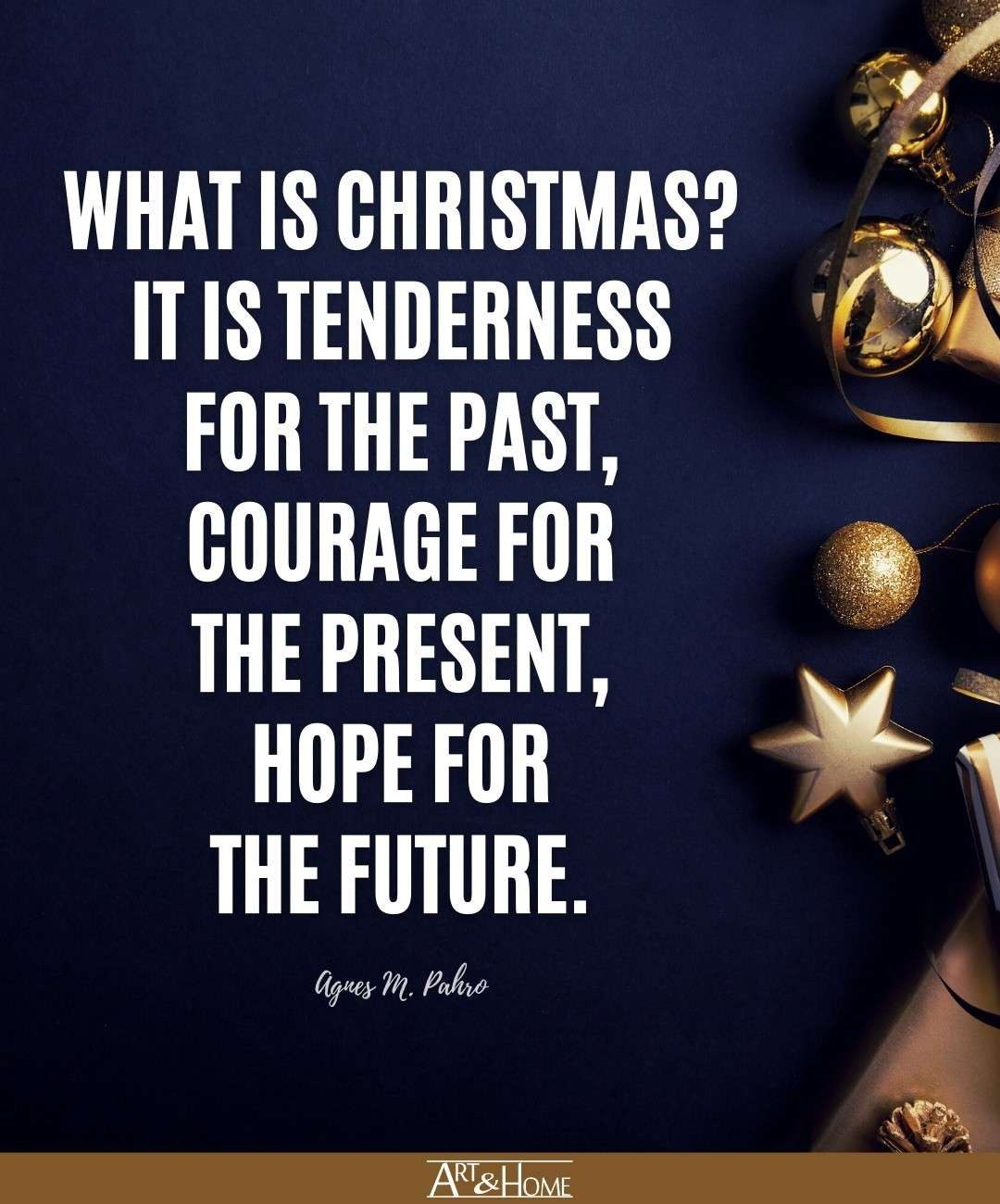 What is Christmas? It is tenderness for the past, courage for the present, hope for the future. Agnes M. Pahro quote.