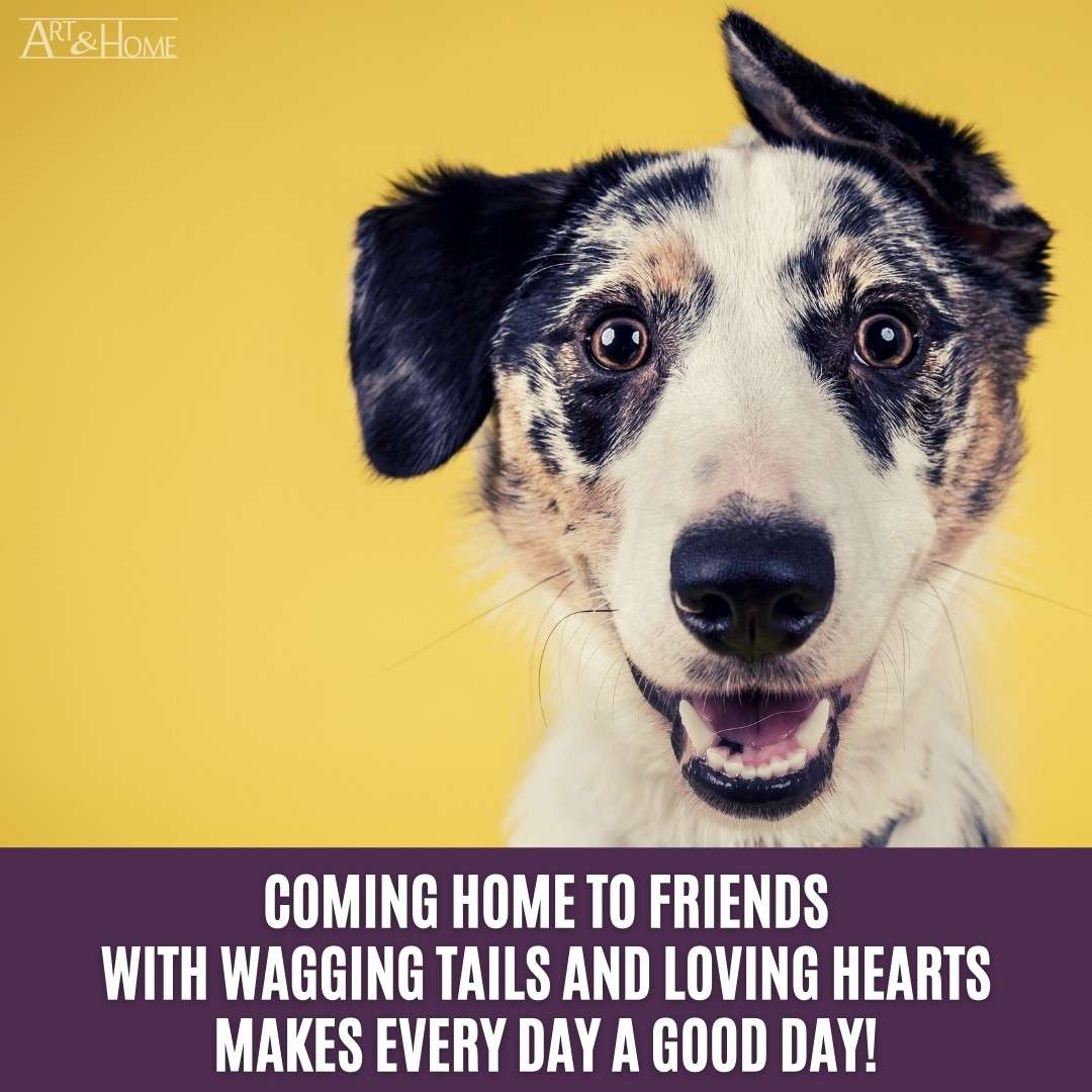 Coming home to friends with wagging tails and loving hearts makes every day a good day! Quote about dogs