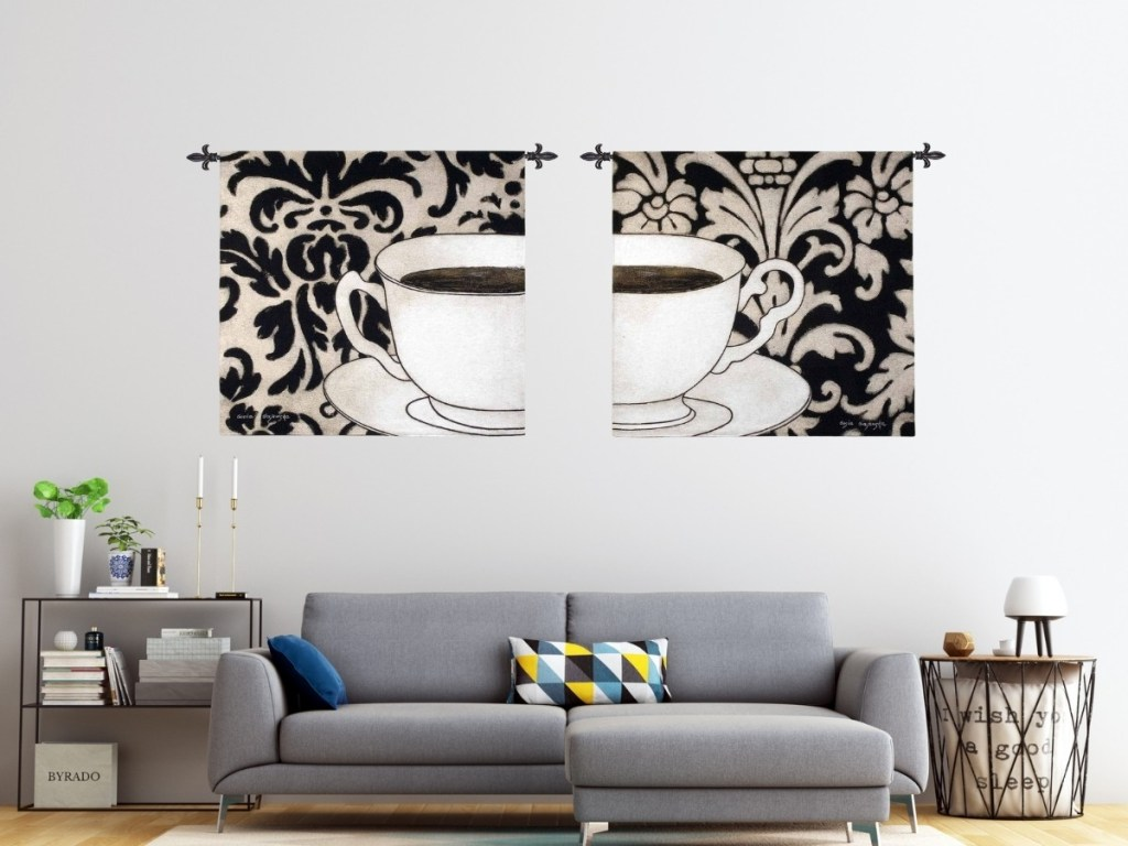 Damask Coffee Black & White Wall Tapestry Set