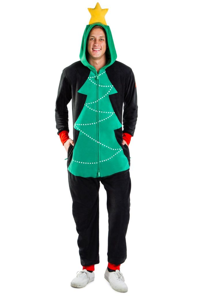 Men's Christmas Tree Toss Game Onesie