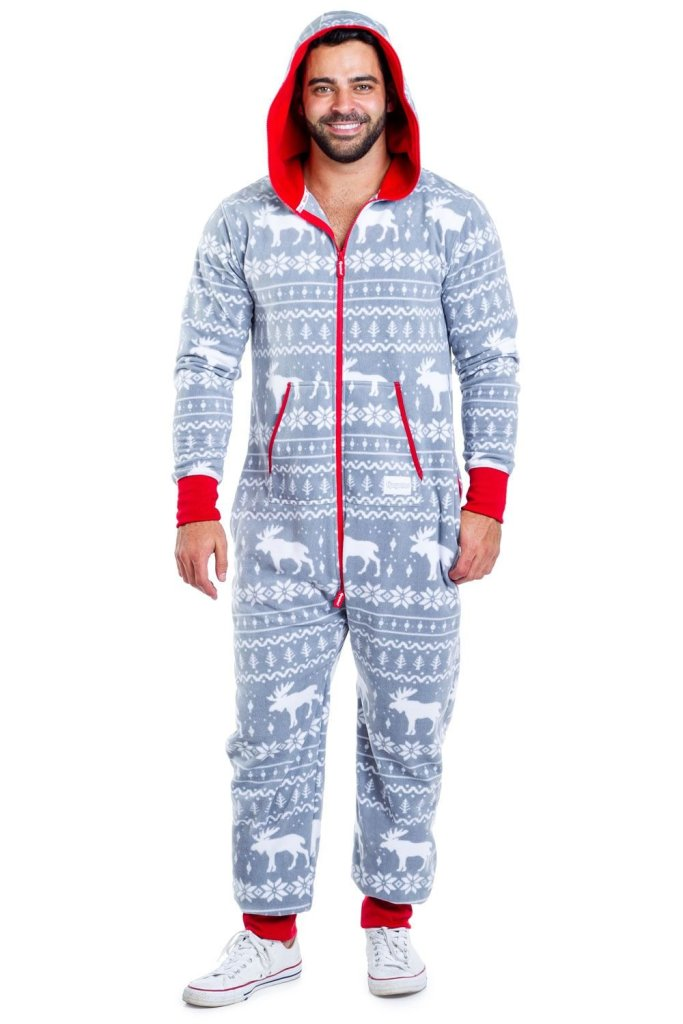 Men's Grey Moose Christmas Onesie