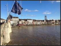 Basel Walking Tour January 2015 _ Mittlere Brücke View to Roche tower