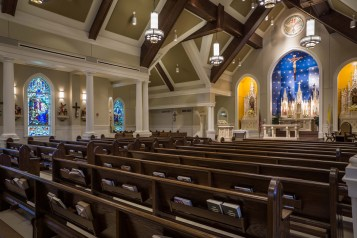Holy Family Church (Pass Christian, MS). Built after Hurricane Katrina devastated two existing parishes. Interior vista. Photo from JHH Architects website.