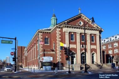St. John's Newman Center at the University of Illinois (Champaign, IL). Exterior. Photo provided by Roamin' Catholic Churches.
