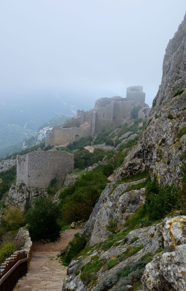 Looking down at Peyrepertus from highest top of the ruins