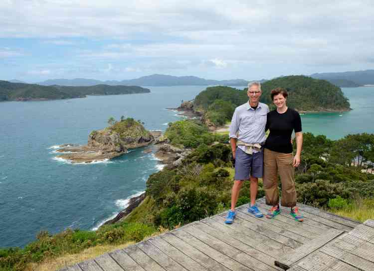 Rare portrait of the two of us, Bay of Islands backdrop
