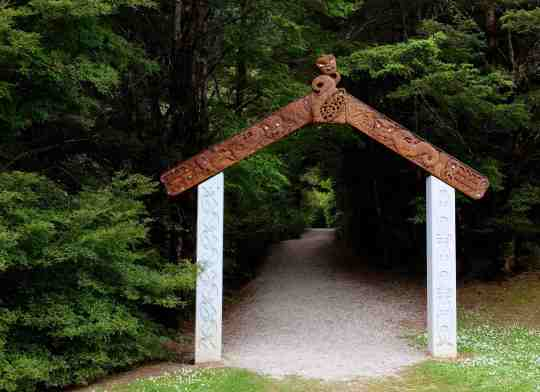Carved Maori gate South Island