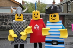 Street entertainers, lego costume themed entertainers