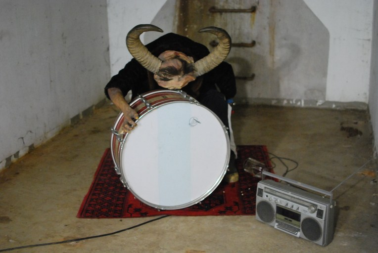 Bad News (Sound track, movement mechanism, drum, horns, radio, clothes, 2011)