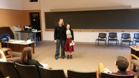 ART@IU Replotting Performance Conference Dr. Jennifer Goodlander and Essay Contest winner Abby Ang