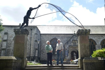 15/06/2017 Pic by: Penny Cross After five years in the making the sculpture by artist Rodney Munday has been placed on the pillars outside the Church of St Andrew . Pictured: Co-ordinator of the Vision for the Pillars project at the Minster Church of St Andrew Alun Hughes with artist Rodney Munday. Contact: Alun Hughes 07941720433 Reporter: Sarah Waddington