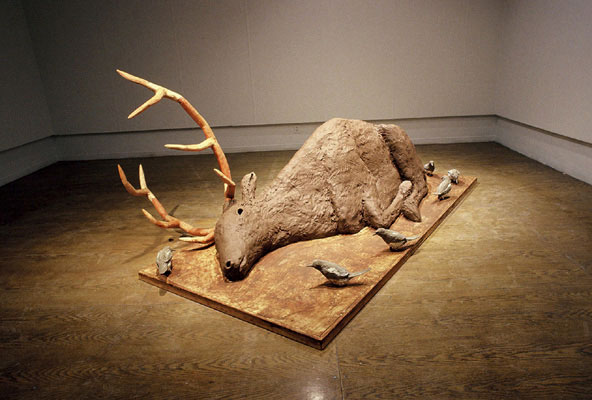 Elk, clay, wood, ceramic, 4'x9'x4', 2006