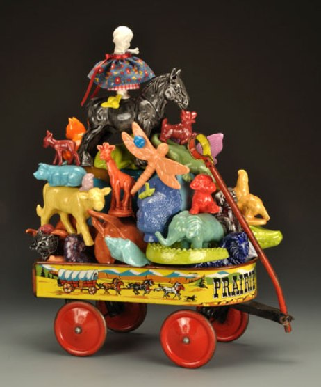 "21"" H x 20"" W x 10"" D, 2009, white earthenware, slipcast, glazed, vintage metal toy wagon"