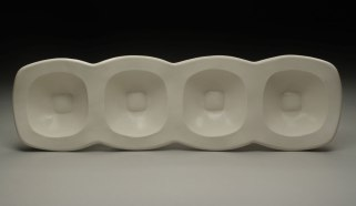 "slab-built porcelain, cone 6, 23 x 7 x 3,"" 2010"