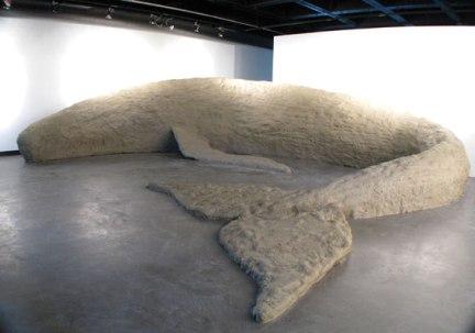 Long Beach Whale, clay, wood, 6'x 46'x 6', 2008