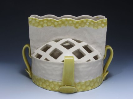 """slab and coil built, cone 6 porcelain, 8"""" x 7"""" x 8"""", 2013"""