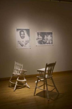 """Installation at Fleisher, press molded porcelain chairs, three color screen print, 25"""" x 36"""", 2009"""