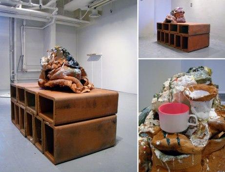 """2010, 36 x 48 x 24"""", ceramic, glaze, found object, spraypaint"""