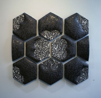 "slab and coil built, cone 6 stoneware, 36"" x 36"" x 2"", 2012"