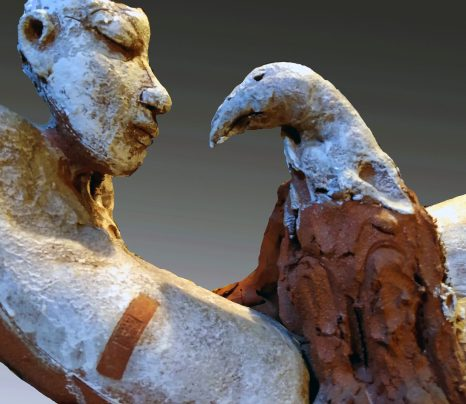 Prometheus has tamed the now-penitent eagle, but the bandaid is a reminder of their history. detail view