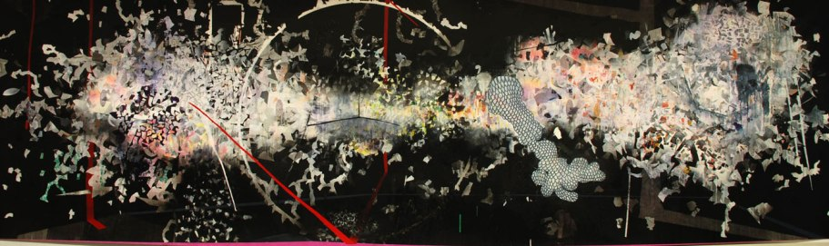 """acrylic, pen, ink, marker, charcoal, graphite, on drafting film, 48"""" X 144"""", 2010"""
