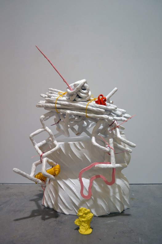 "Certain Curtain, 2012, 32"" x 22"" x 18"", ceramic and mixed media"