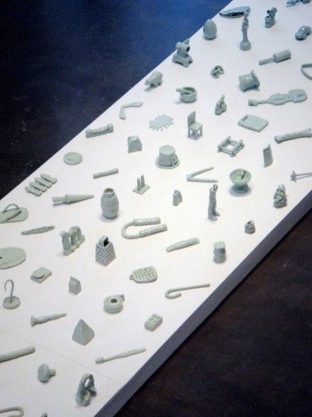 Democracy (detail), 2012, 20' x 4' x 1', 138 ceramic objects