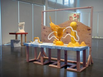 "Trophy, 2012, 64"" x 60"" x 38"", ceramic and mixed media"