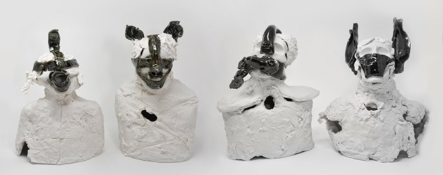 From a series of seven, these four women are wearing Scold's Bridles from the Middle Ages. These iron masks with mouth bits were put on by men to control their gossipy wives. A pre-cursor to the #MeToo Movement. Frosting-like texture created with a palatte knife.