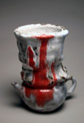 "Tea Cup, 6""h x 4.5""w x 4""d, Yixing teapot, clay and glazes, 2004"